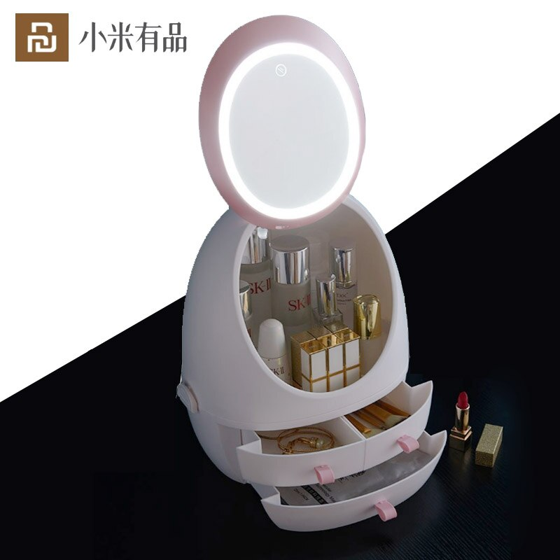 Cosmetic Storage Box With LED Mirror Waterproof Dustproof Bathroom Bedroom Beauty Makeup Organizer Drawer From Xiaomi Youpin
