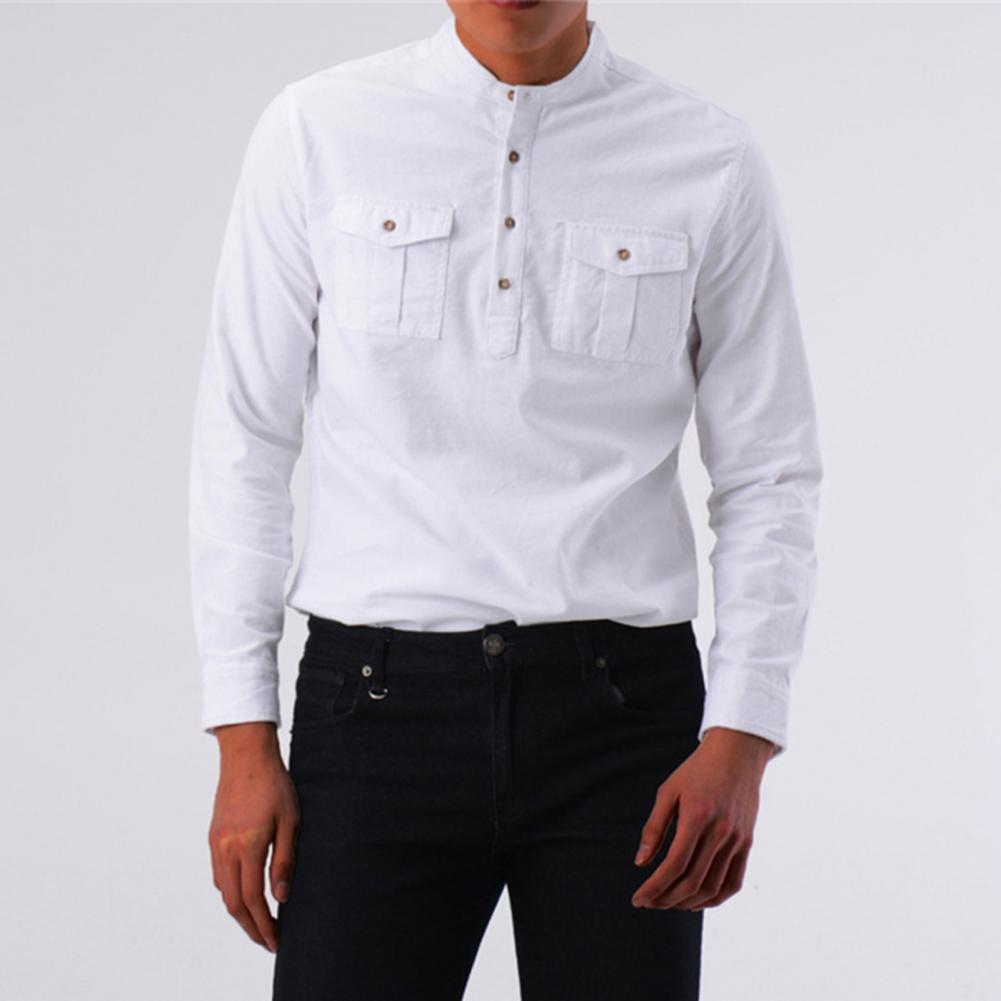 Long Sleeve Business Shirt Stand Collar Men Two Pockets Buttons Dress Shirt Pullover Top