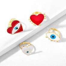 2019 novo ajustável ouro vermelho coração mau olho anéis de moda para as mulheres do sexo feminino popular bonito mal olho amor coração anel de ouro jóias