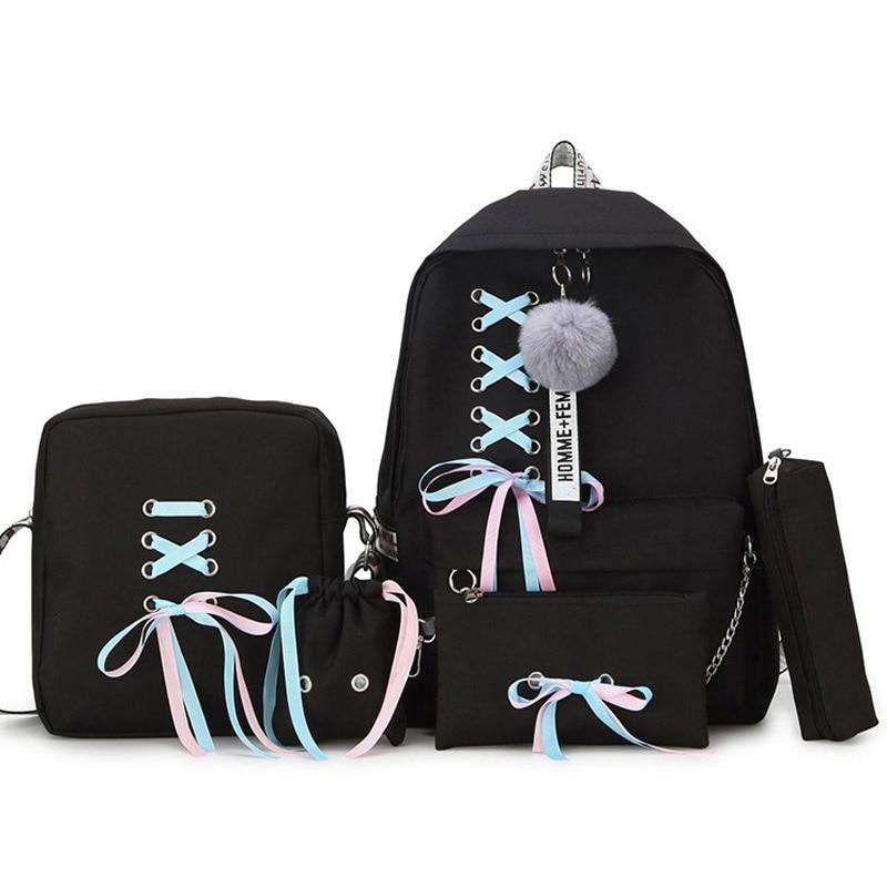 Fashion Women Backpacks 5 Set School Backpack Korean Design College School Bags For Teenage Girls Ki