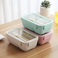 850ml microwave lunch box wheat straw dinnerware with spoon chopsticks food storage container kids school office bento