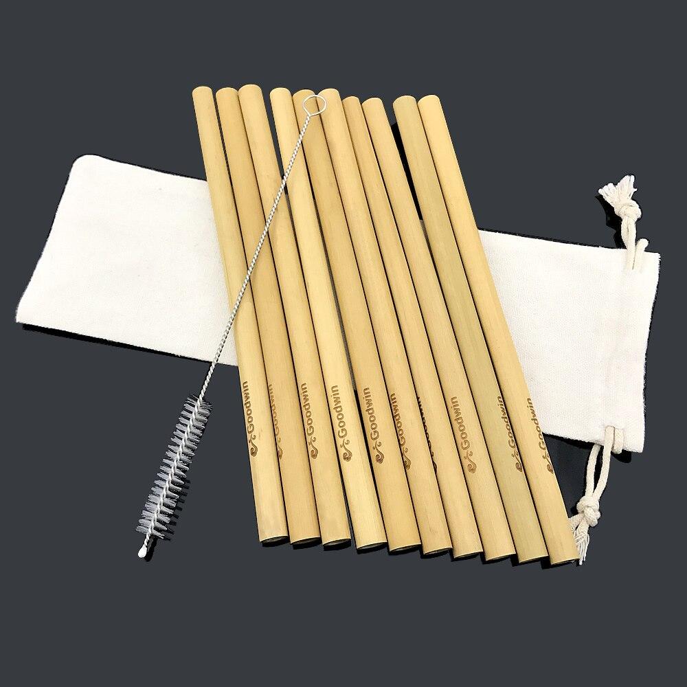 Pajillas de bambú-Travelling-Set de azúcar Biodegradable limpieza reutilizable-cepillo Natural