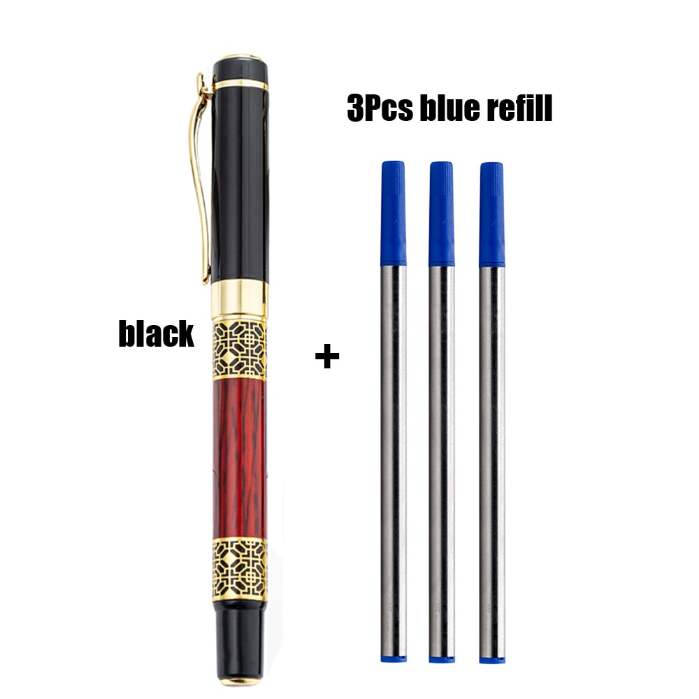 1 + 3 шт. элегантная высококлассная шариковая ручка, металлическая шариковая ручка для бизнеса в отеле, модная ручка для подписи, школьные и о...