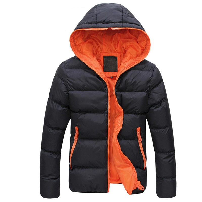 Jacke mantel Männer Farbe Block Zipper Mit Kapuze Baumwolle Padded Mantel Schlank Passt Verdicken Outwear Jacke