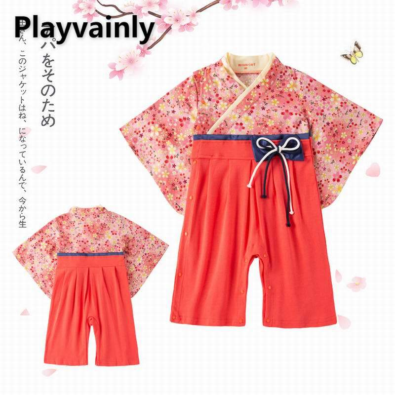 Baby Girl Romper 2021 New red Floral Bow kimono Long Sleeve Cotton Romper Toddler Clothing E12513