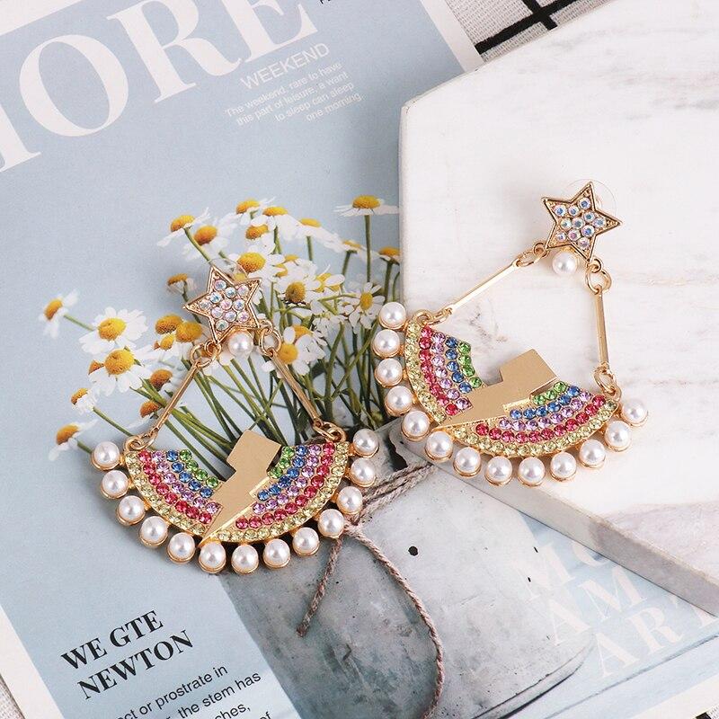 Pendientes de boda de JURAN para mujer, pendientes de gota de cristal multicolor de perlas de imitación elegantes para mujer, accesorios, regalos, joyería