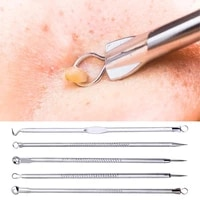 6pcsset blackhead needle anti slip face cleaning stainless steel acne removing extractor tools for unisex