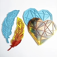 diy crafts love heart tray pad feather plates epoxy resin mold silicone mould 83xf