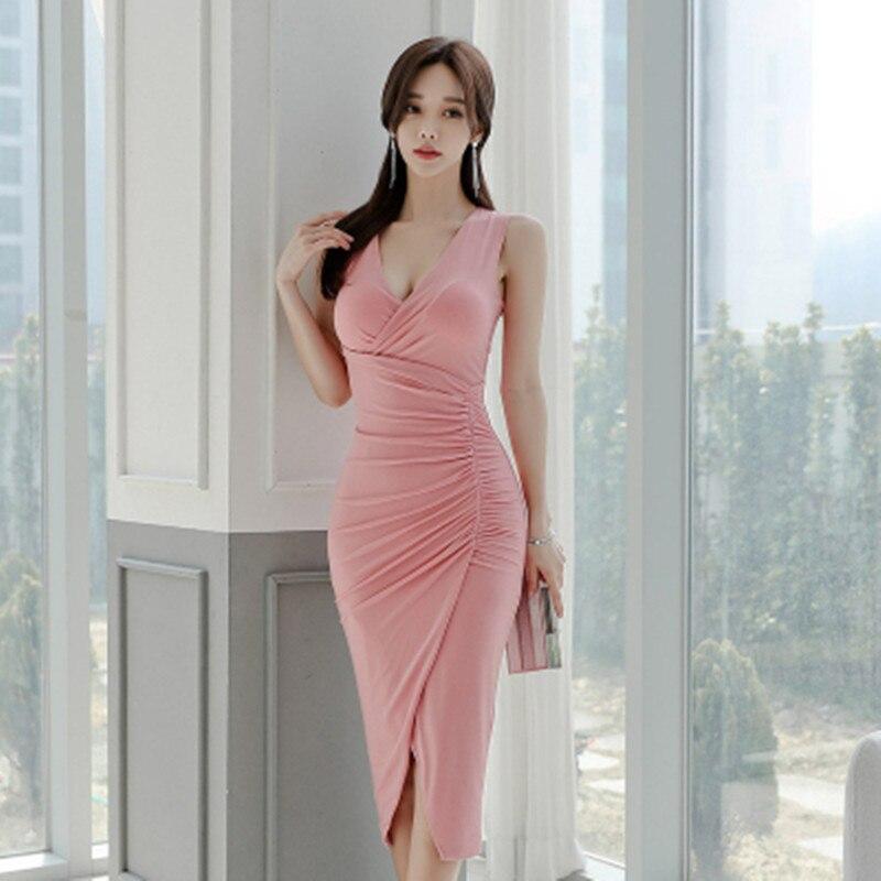 New V-Neck Split Sleeveless Vest Dress Wrinked High Waist Pink Womens Summer Bodycon Midi Sexy Dress