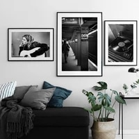 nordic black white wall band guitar jazz music portrait canvas painting posters and prints wall art picture for room home decor