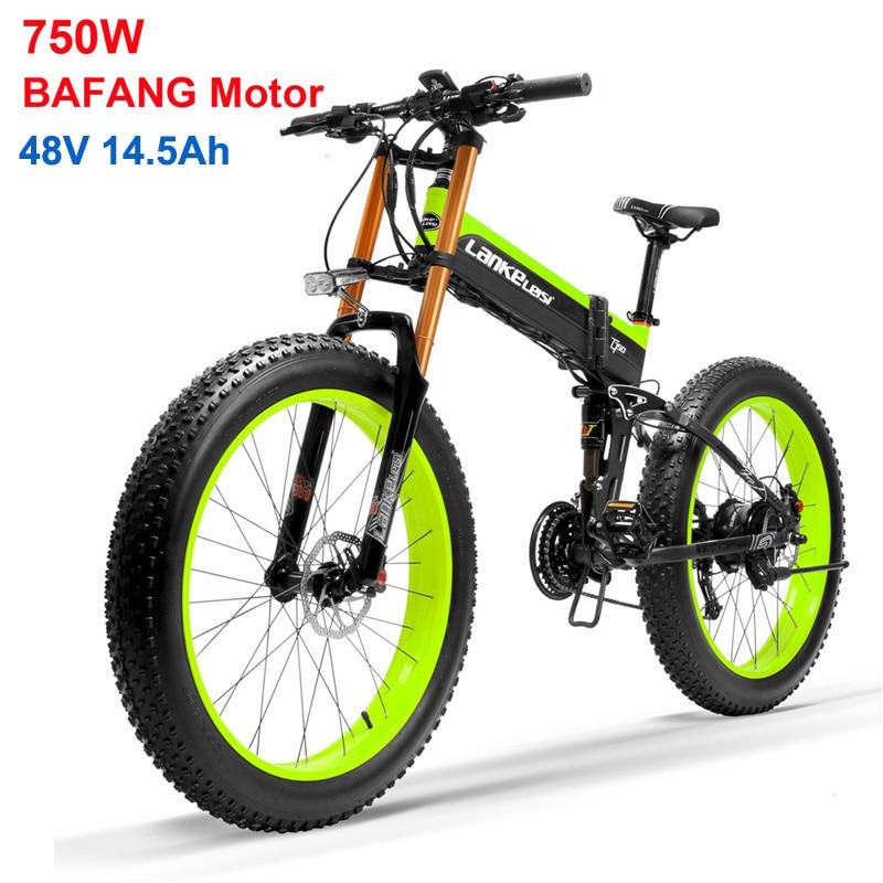 Bicicleta eléctrica plegable de 26 pulgadas, Motor BAFANG de 750W, bicicleta eléctrica de 48V, suspensión completa