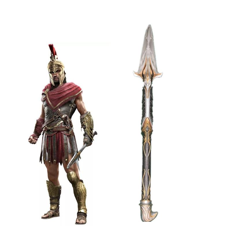 Juguetes Assassins Creed odisea roto lanza de Leónidas réplica hoja oculta espada de manga Edward para niños Cosplay juguete para regalo