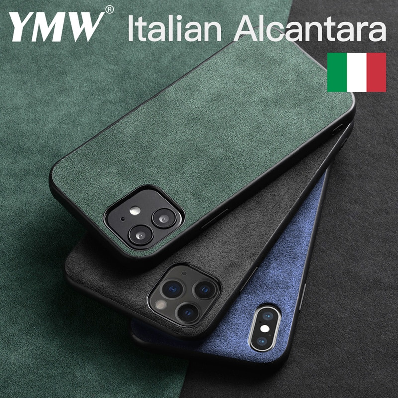 YMW ALCANTARA Case for iPhone 12 Pro Max mini 11 Xr X  Xs Max SE2 6 6s 7 8 Plus Luxury Artificial Leather Business Phone Cover