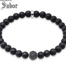 jewellery Black Zirconia Pave Beads Black Obsidian Heart Matted Bracelet Rebel silver color Jewelry Gift Men female
