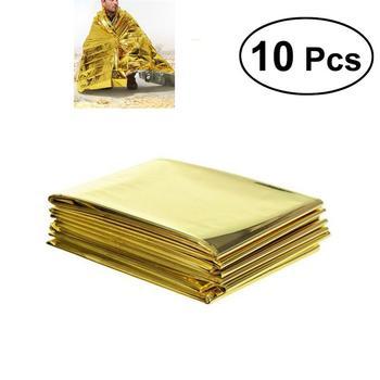 10pcs Outdoor Hiking Climbing Emergency Rescue Survival Blanket Reflective Blanket 210cmx0.01cmx130cm (Golden)