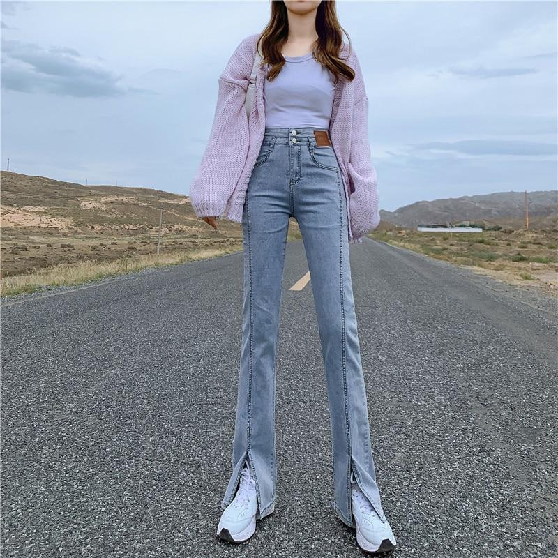 2021autumn Stretch High Waist Jeans Women's Small Split Slimming Wide-Leg Bell-Bottoms Cropped Pants