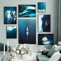 blue sea aurora wall art canvas painting glacier whale boat nordic posters and prints wall pictures for living room home decor