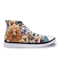 haoyun poodle rottweiler print womens vulcanize shoes casual high top canvas shoes for ladies lace up animal female flats shoes