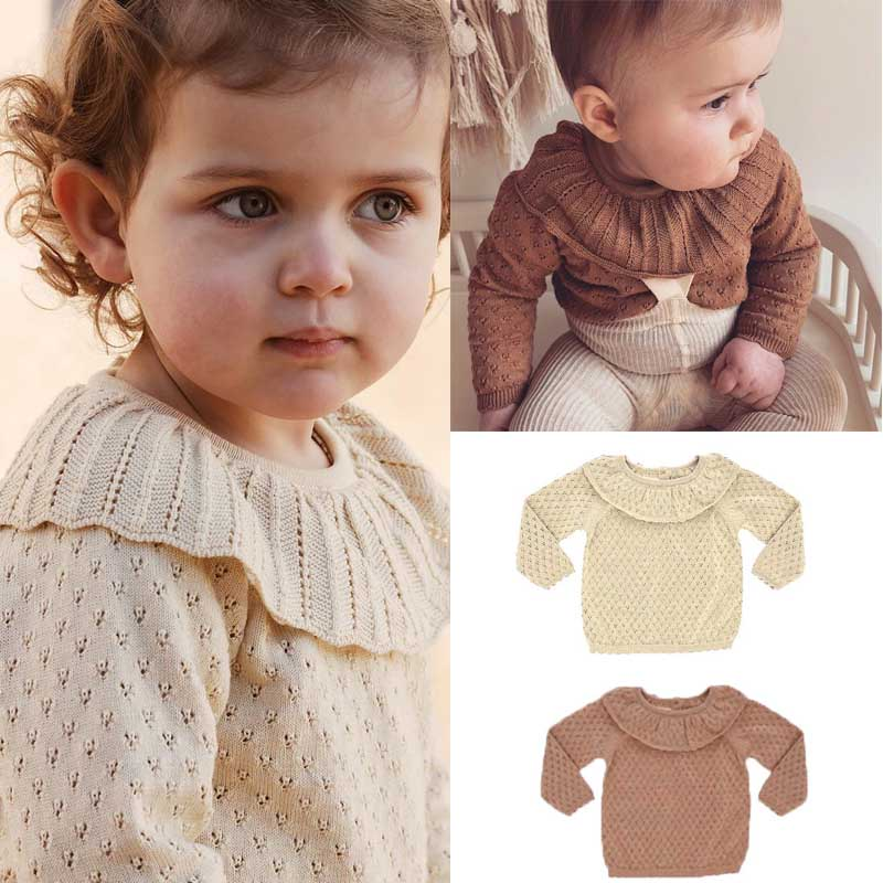 2020 New Autumn Winter Brand Kids Sweaters for Girls Cute Hollow Out Knit Pullover Baby Child Fashion Cotton Tops Clothes