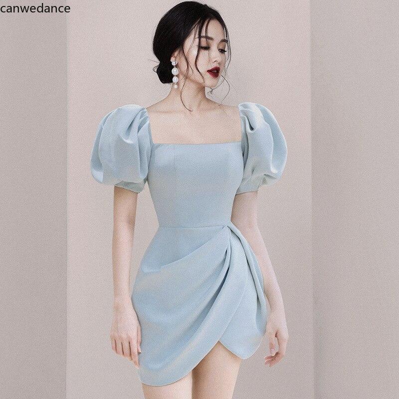 فستان نسائي صيفي قصير, فستان صيفي مناسب لحفلات التخرج بياقة مربعة وأكمام فانوس 2020