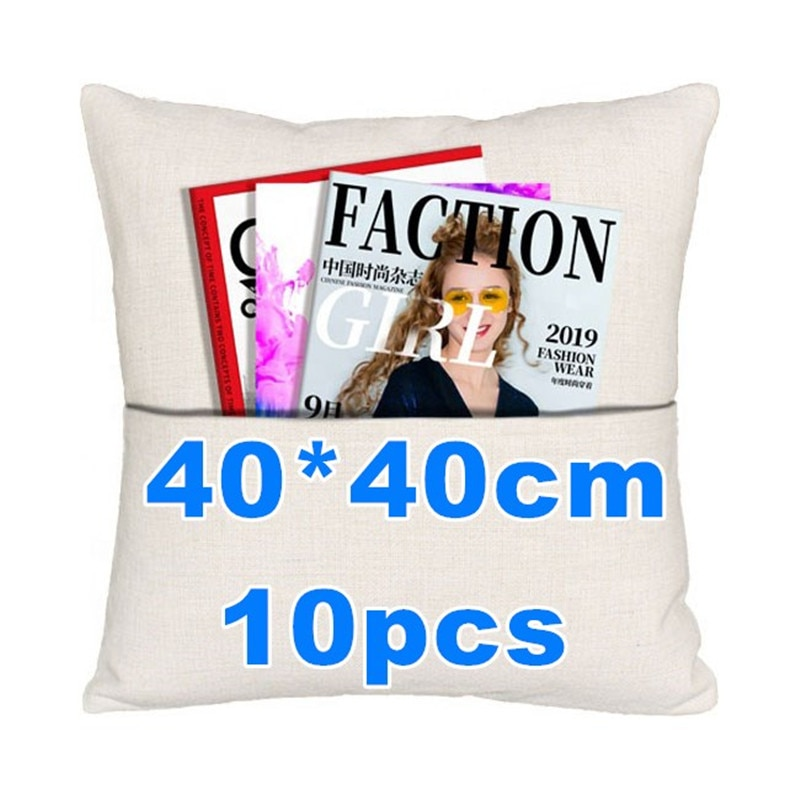40 × 40 سنتيمتر التسامي المخدة فارغة الكتان جيب وسادة حالة وسادة غطاء 10 قطعة