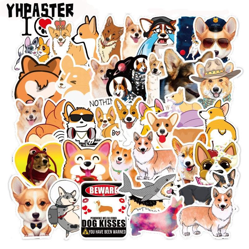50 Pcs/Pack Creative Cute Husky Corgi Pet Dog Stickers Toys For Children's Motorcycles Skateboards DIY Hand Diaries Scrapbooks