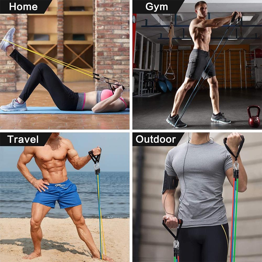 Купить с кэшбэком Bodybuilding Resistance Bands Gym Rubber Sport Elastic Fitness Sports Accessories Portable Equipment 100LBS Tape Bands