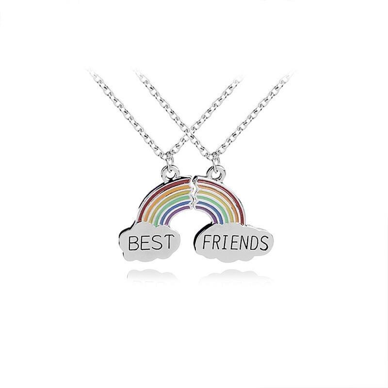 2 pçs/set Moda Melhor Amigo Costura Colar Pingente Para As Mulheres Colorido Bonito Rainbow Colar Gargantilha Colar de Jóias
