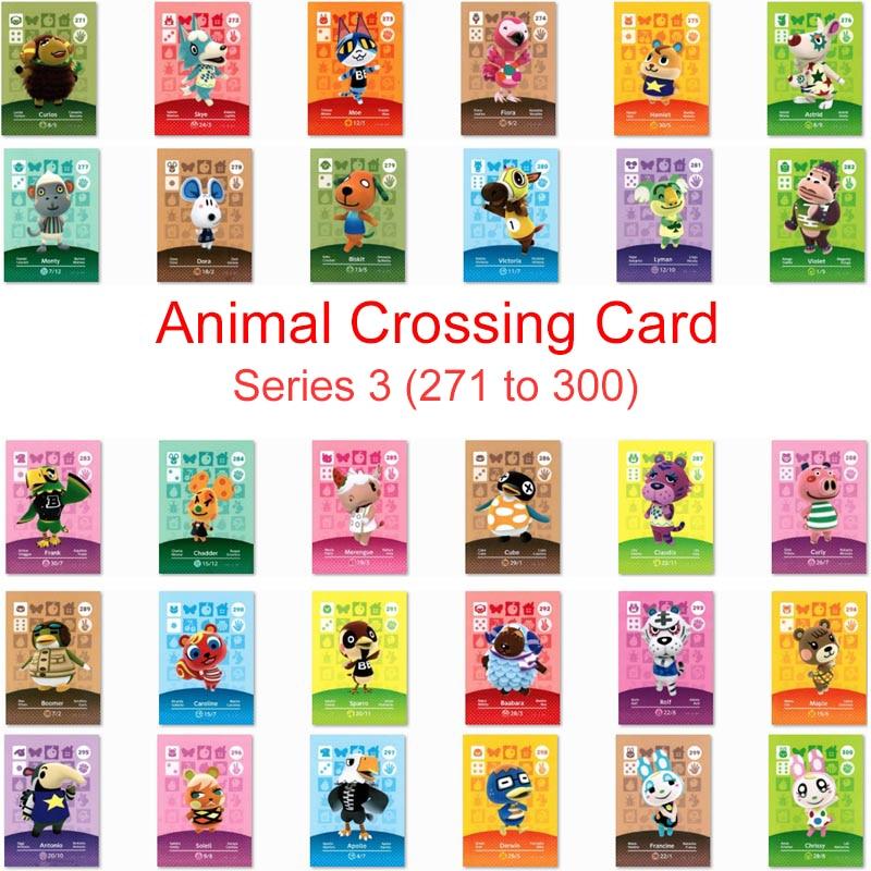 Serie 3 (271 a 300) Tarjeta de cruce Animal Amiibo trabajo de la tarjeta para el juego de interruptor NS Nuevos Horizontes Merengue Maple Apollo Francine Card