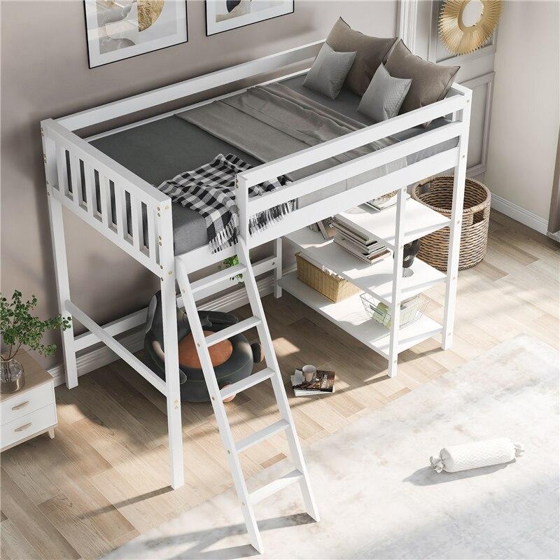 سرير علوي من خشب الصنوبر مع رف تخزين ، سلالم ، منزلق. إطار خشبي تجميعها سرير مزدوج الحجم لأثاث غرفة نوم الأطفال الكبار