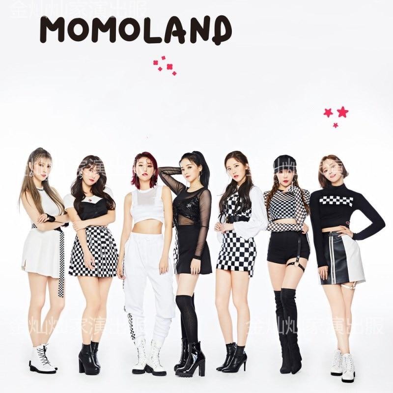 kpop MOMOLAND stage performance same fashion slim long sleeved O-neck Tshirt tops+sexy zipper mini skirt women 2 piece outfits