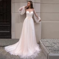 charming weddding dresses 2021 sheer sweetheart long puff sleeves pearls a line tulle court train bridal gowns vestidos de novia