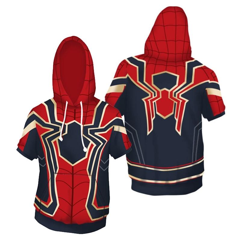 Marvel The Avengers Superhero Iron Man Spider-man Short Sleeve Sweatshirts Pullover Hoodies Outerwear Coat Tops