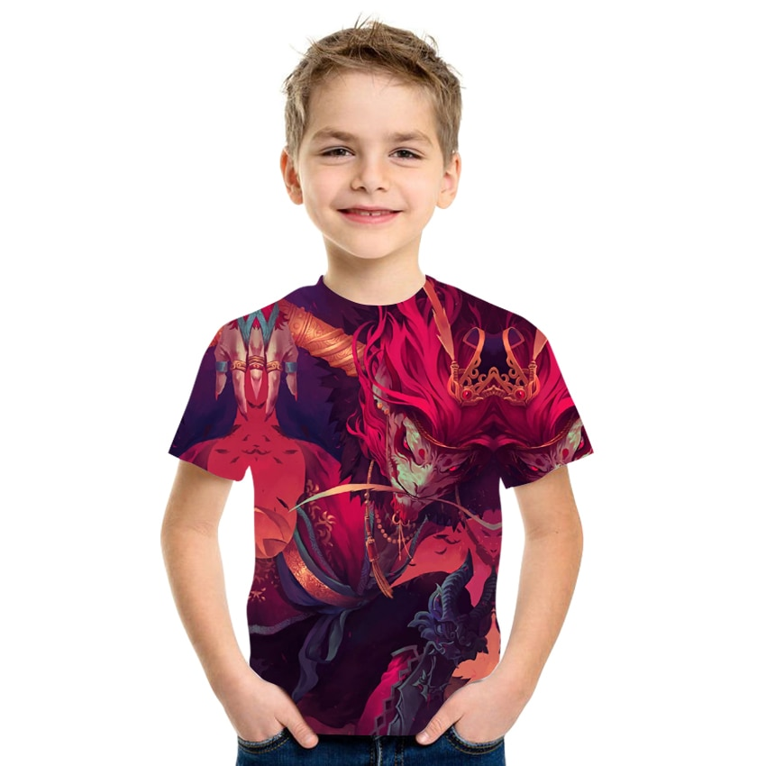 2021 summer 3D anime printed T-shirt boys and girls clothing milk silk fabric size 4T-16T