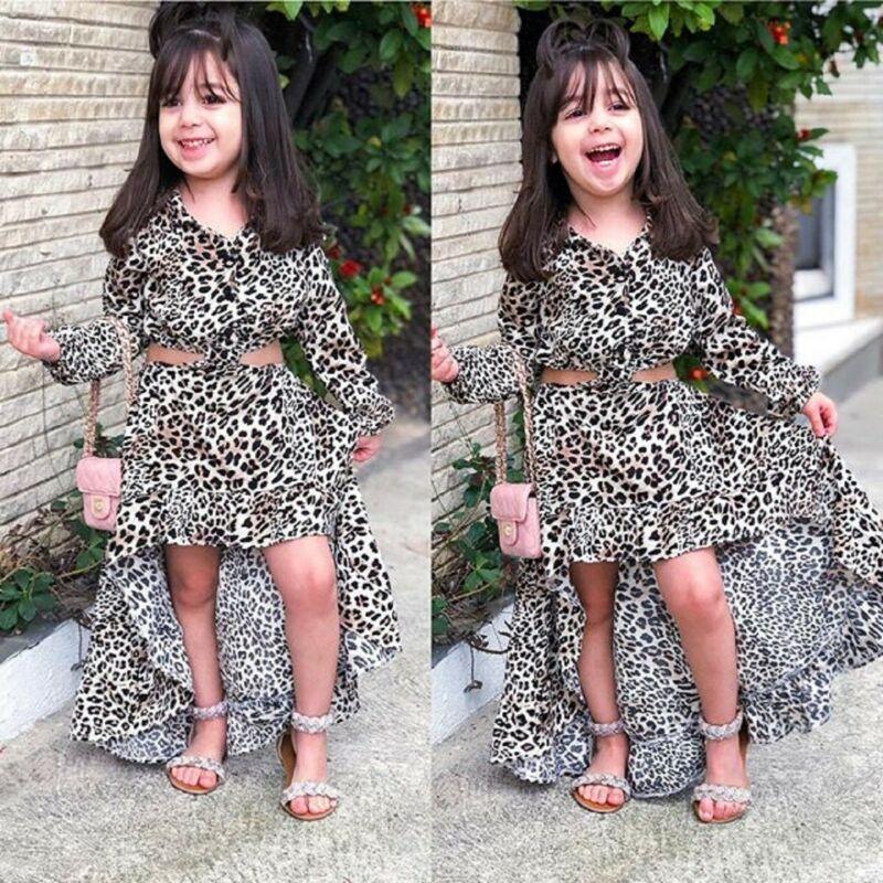 Pudcoco/2020 г. Весенне-Осенняя детская одежда для маленьких девочек блузка с длинными рукавами + юбка русалки Леопардовый повседневный комплект из 2 предметов комплект одежды для девочек