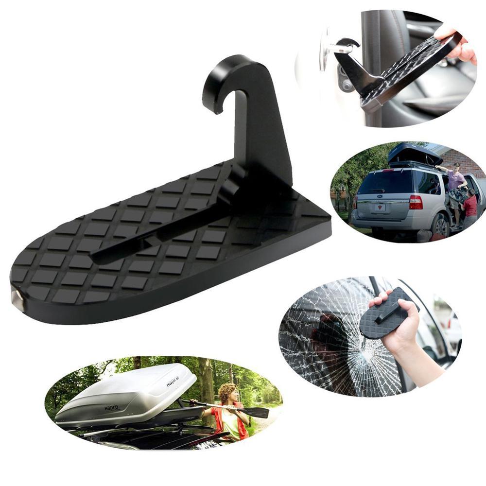 OLOMM 1pcs Folding Car Door Step Latch Hook Step Mini Foot Pedal Ladder  For Jeep SUV Truck Roof