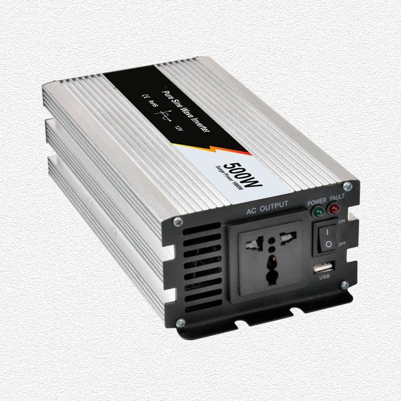 Inversor de onda sinusoidal pura 500W potencia nominal con 1000W potencia de sobrecarga 12V a 220 Vac kits de sistema de carga de batería
