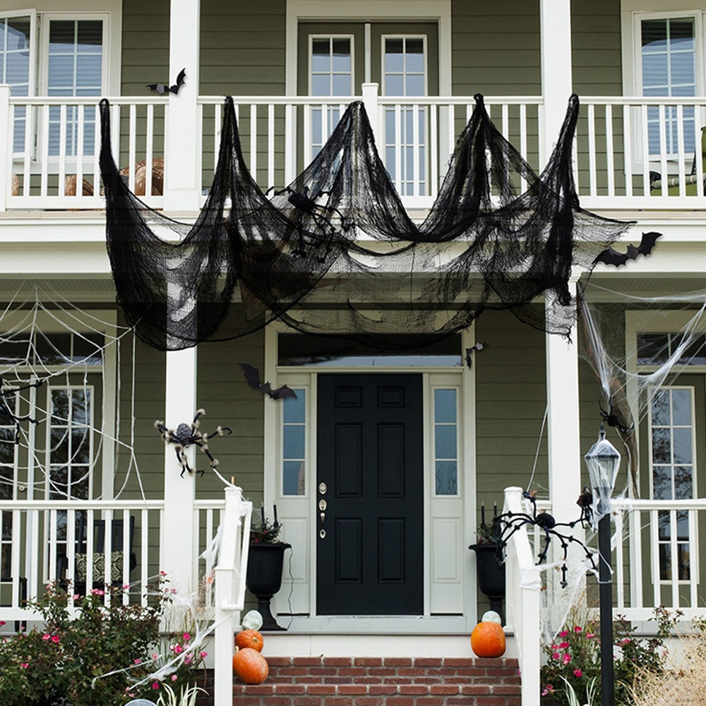 Decoración de gasa de Halloween tela escalofriante de tamaño grande gris negro blanco suministros de fiesta decoración de cuadrícula roving negro gasa de Halloween