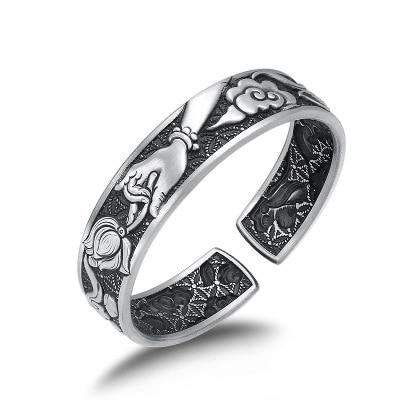 Buda plateado esterlina 999 Mantra Lotus Dragon Phoenix apertura pulsera brazalete joyería argent