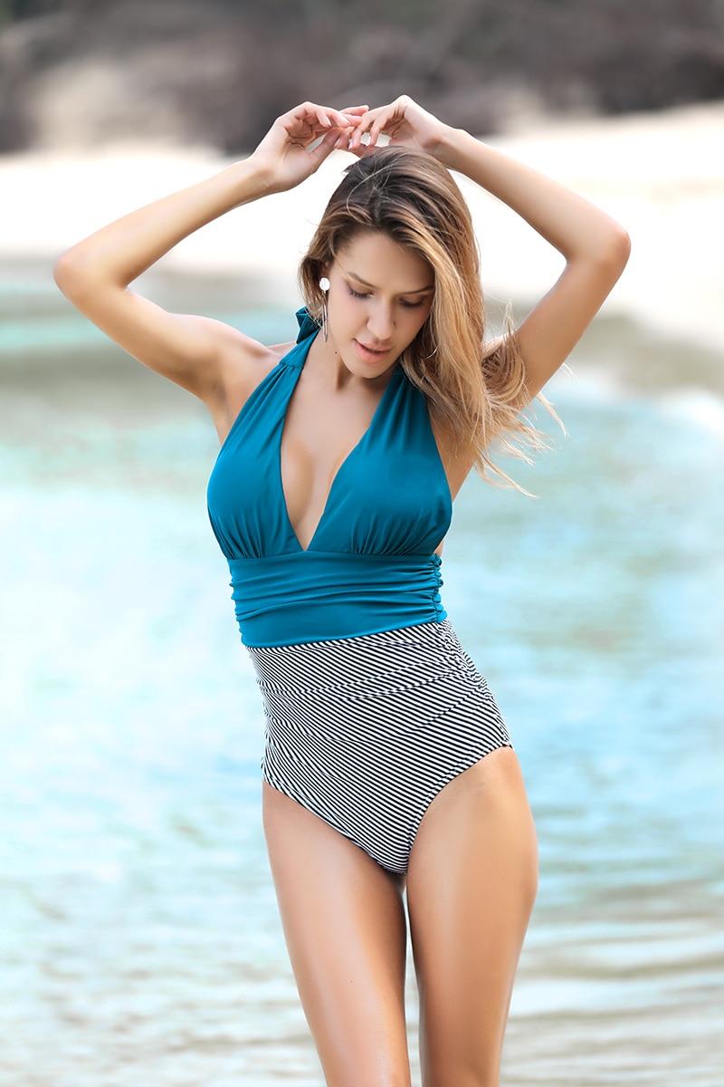 Lemonsissi Stripe Solid One-Piece Swimsuit Halter V-Neck Backless Halter Self-Tie Sexy Bikini 2020 Ladies Beach Bathing Swimwear burgundy sexy backless self tie bikini set