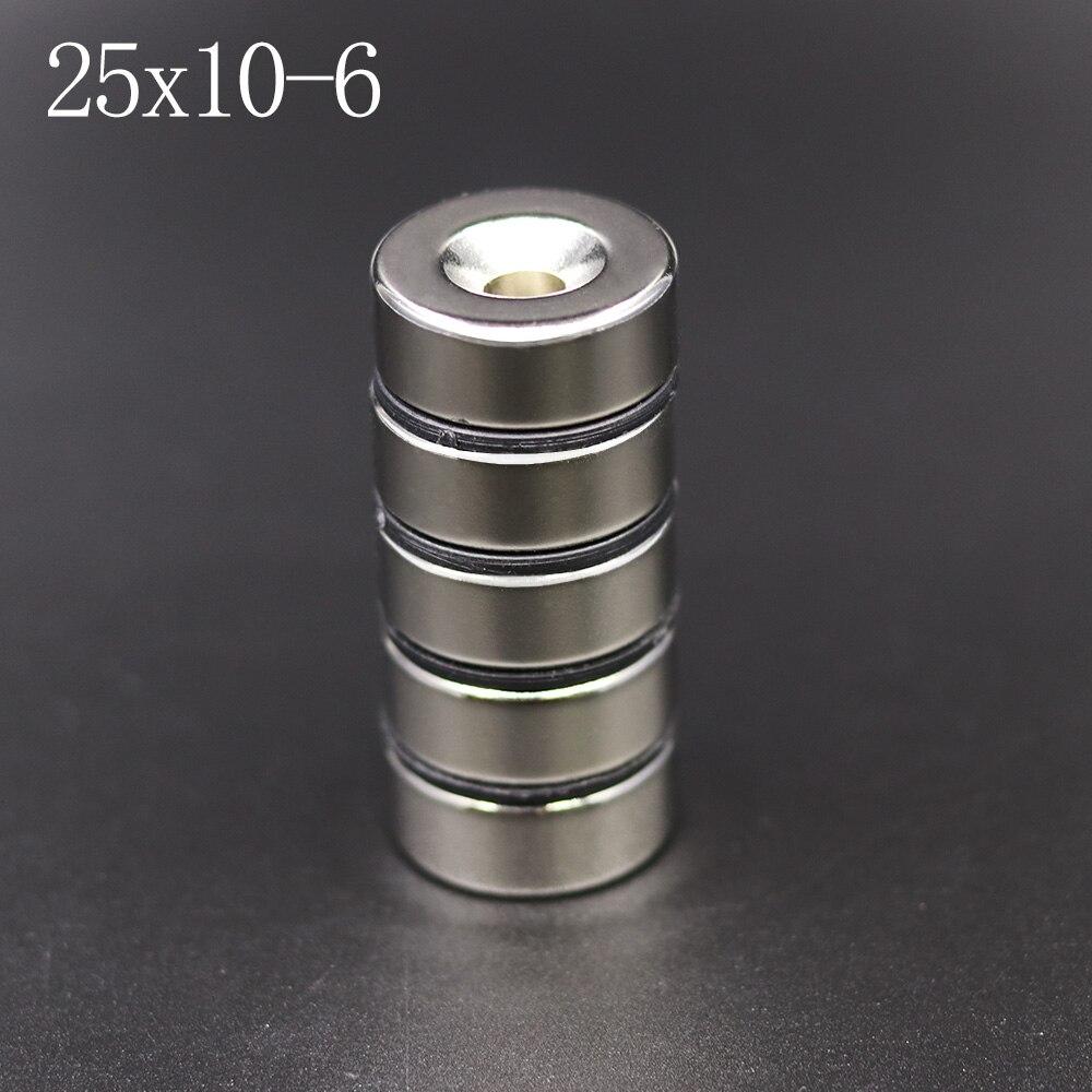 1/2/5 unidades imán de neodimio 25mm x 10mm agujero 6mm N42 NdFeB redondo Super potente fuerte permanente imanes disco 25x10Hole 6
