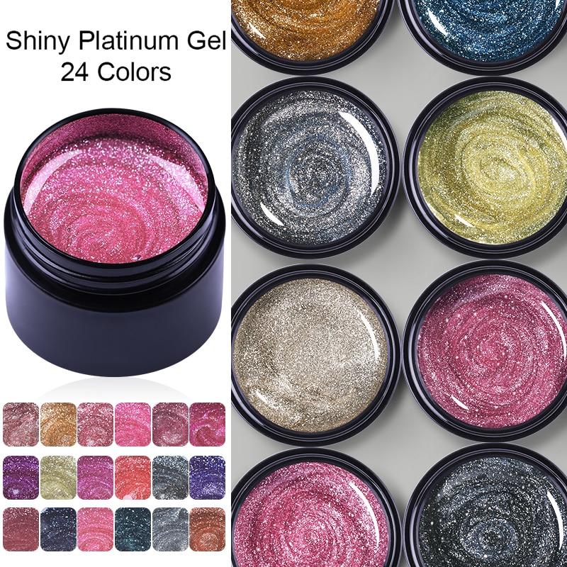 LEMOOC 5g Nail Gel Polish Glitter Sequins Platinum Nails Art Manicure For Poly UV Gel Lak UV Top Base Coat Hybrid Varnishes