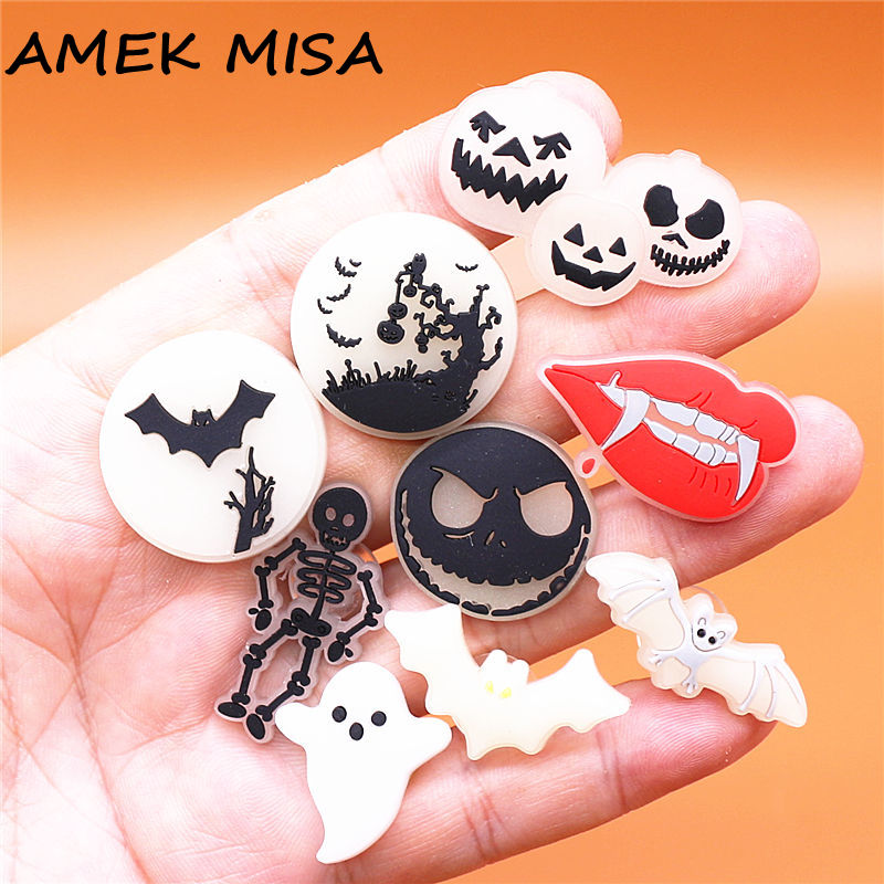 Luminous Designer Vampire Shoe Charm Accessories Scary Halloween Monster Shoes Buttons Skeleton Jack