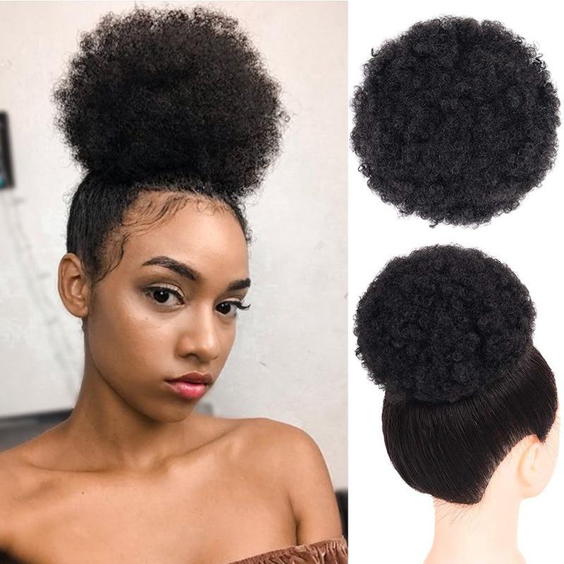 Бразильский хвост, человеческие волосы, монгольский афро кудрявый хвост, Remy 4B 4C, наращивание с зажимом, Искусственные черные волосы