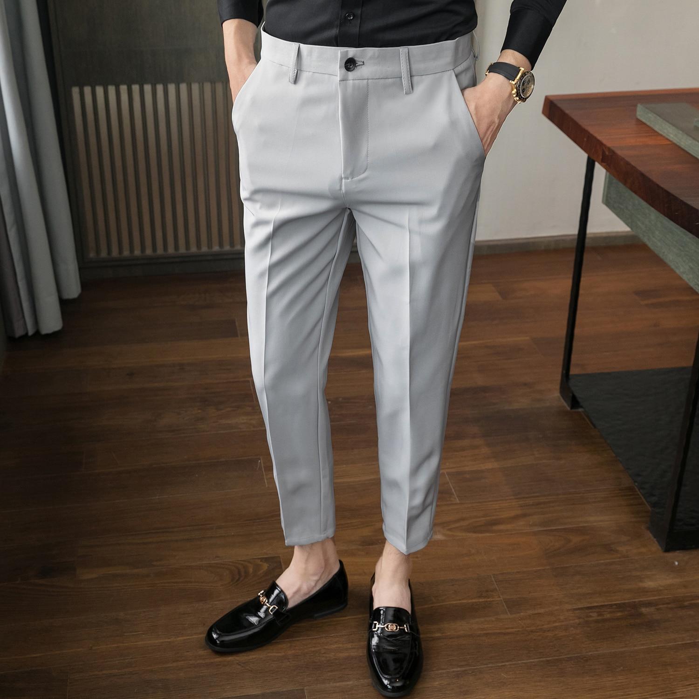 Новинка 2021, стильные мужские весенние облегающие деловые Костюмные брюки/мужские однотонные эластичные брюки-карандаш, мужские классическ...