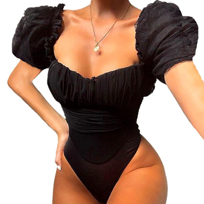 2019 camisetas de mujer transparentes a través de la moda para Fiesta Club Puff manga negra Bodysuits cuello cuadrado Sexy Hollow Out Mesh Bodysuit