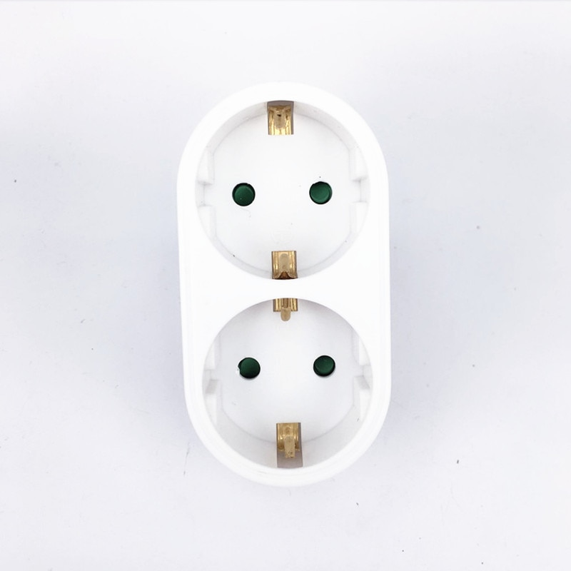 Enchufe de conversión de tipo europeo de 1 a 2 vías, enchufe adaptador de corriente estándar de la UE, enchufe de viaje de 16A, CA 110 ~ 250V