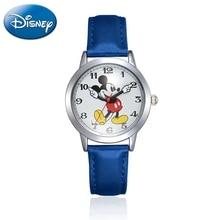 Enfants Disney bracelet en cuir Quartz enfant amour montres Mickey Mouse dessin animé étudiant montre garçons filles anniversaire meilleur cadeau enfants