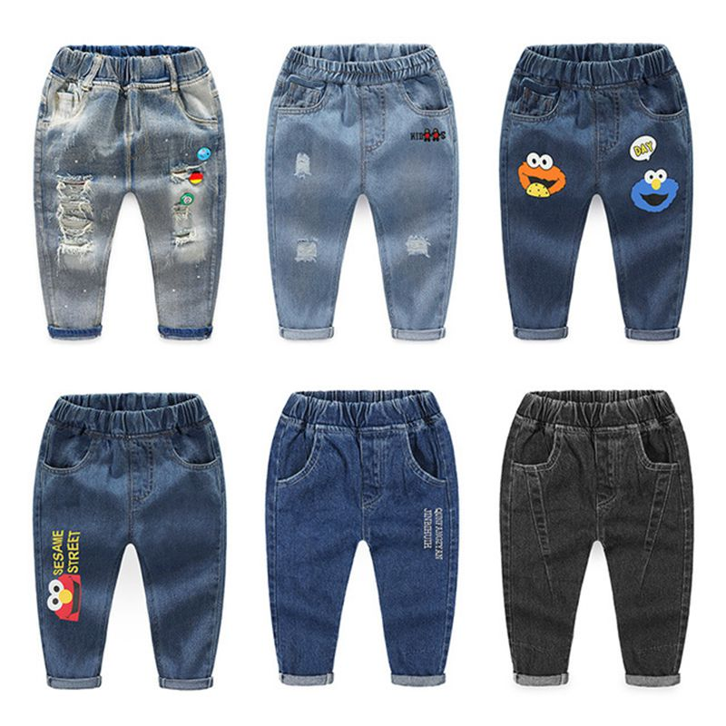 New 2020 Kids Fashion Solid Jeans Trousers Pants Boys Denim Pants Baby Boys Jeans Autumn Winter Jeans Long Pants Clothing