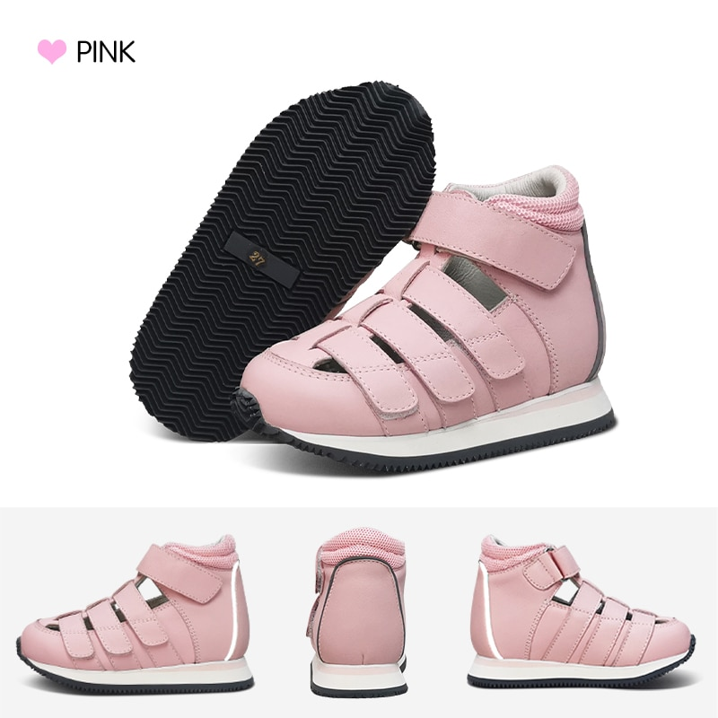Ortoluckland Children's Sandals Kids Leather Summer Shoes For Girls Boys Toddler Flatfeet Orthopedic Footwear enlarge